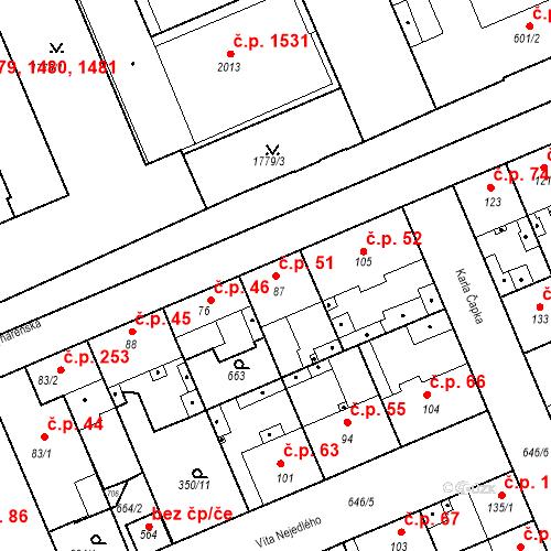 Katastrální mapa Stavební objekt Kvíček 51, Slaný