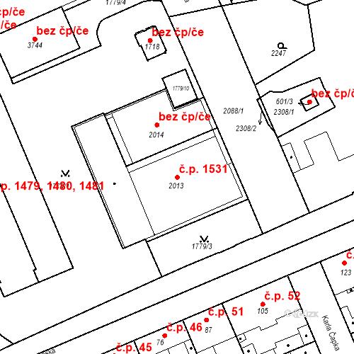 Katastrální mapa Stavební objekt Slaný 1531, Slaný