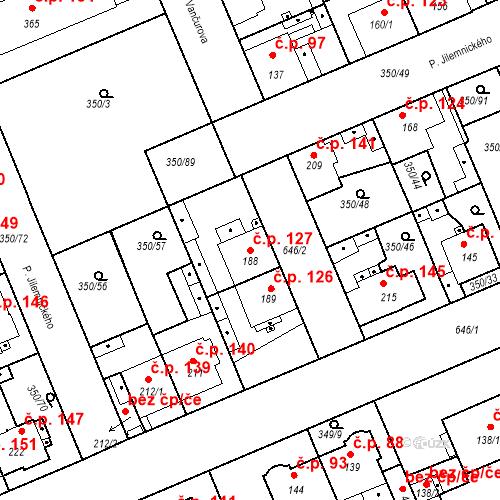 Katastrální mapa Stavební objekt Kvíček 127, Slaný