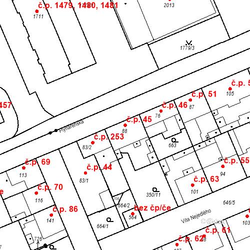 Katastrální mapa Stavební objekt Kvíček 45, Slaný