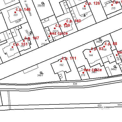 Katastrální mapa Stavební objekt Kvíček 111, Slaný