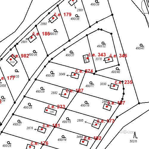 Katastrální mapa Stavební objekt Slaný 274, Slaný
