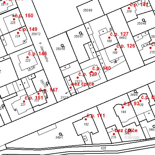 Katastrální mapa Stavební objekt Kvíček 139, Slaný