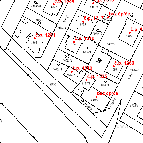 Katastrální mapa Stavební objekt Slaný 1510, Slaný