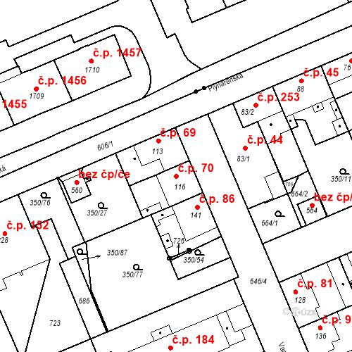Katastrální mapa Stavební objekt Kvíček 70, Slaný