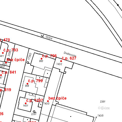 Katastrální mapa Stavební objekt Slaný 627, Slaný