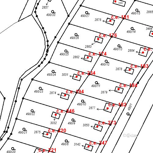 Katastrální mapa Stavební objekt Slaný 234, Slaný