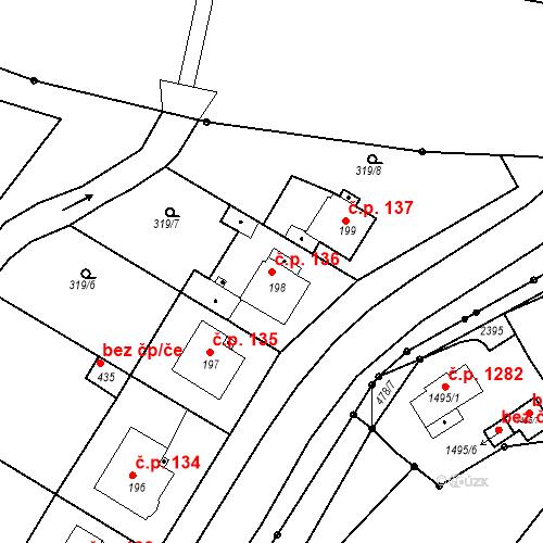 Katastrální mapa Stavební objekt Kvíček 136, Slaný
