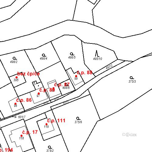 Katastrální mapa Stavební objekt Srbsko 88, Srbsko
