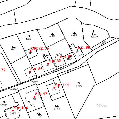 Katastrální mapa Stavební objekt Srbsko 87, Srbsko