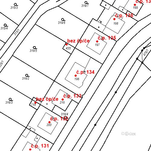Katastrální mapa Stavební objekt Kvíček 134, Slaný