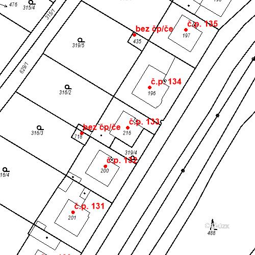 Katastrální mapa Stavební objekt Kvíček 133, Slaný