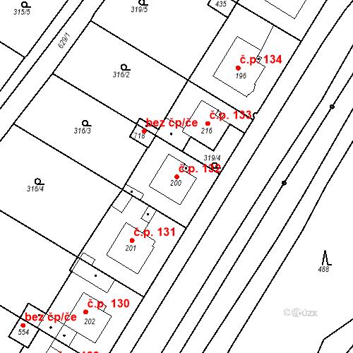 Katastrální mapa Stavební objekt Kvíček 132, Slaný