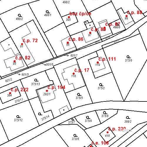 Katastrální mapa Stavební objekt Srbsko 17, Srbsko
