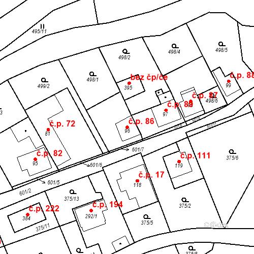 Katastrální mapa Stavební objekt Srbsko 86, Srbsko