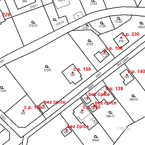Katastrální mapa Stavební objekt Srbsko 159, Srbsko