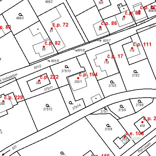 Katastrální mapa Stavební objekt Srbsko 194, Srbsko