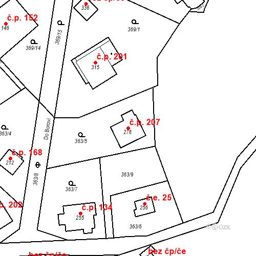 Katastrální mapa Stavební objekt Srbsko 207, Srbsko