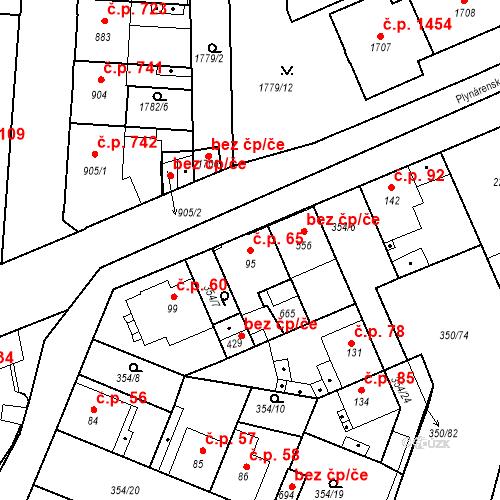 Katastrální mapa Stavební objekt Kvíček 65, Slaný
