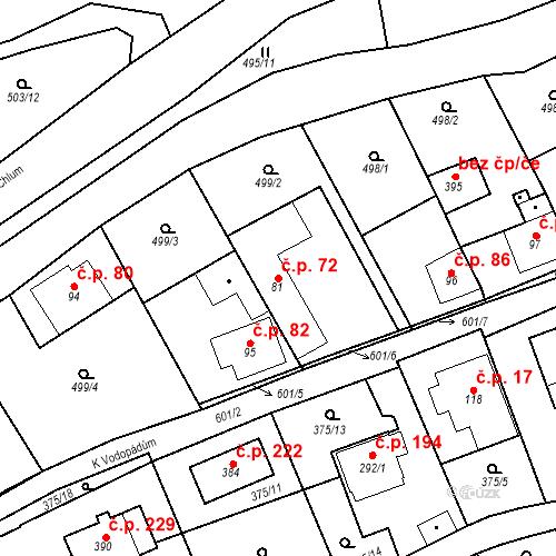 Katastrální mapa Stavební objekt Srbsko 72, Srbsko