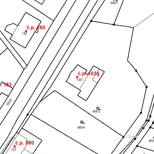 Katastrální mapa Stavební objekt Slaný 1034, Slaný