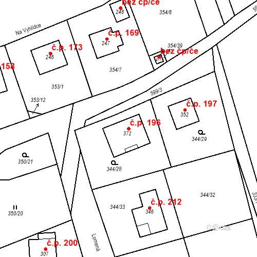 Katastrální mapa Stavební objekt Srbsko 196, Srbsko