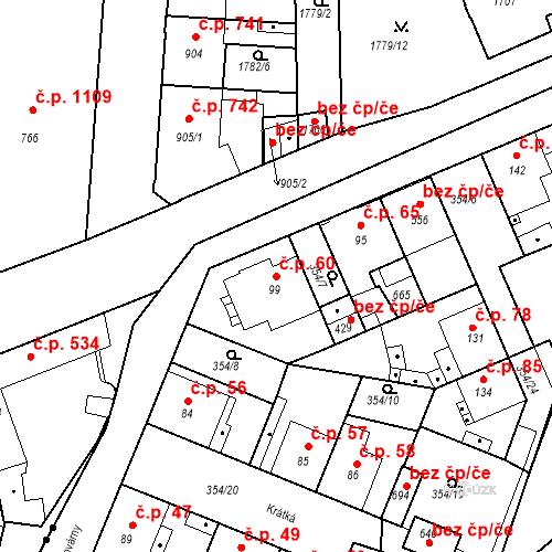 Katastrální mapa Stavební objekt Kvíček 60, Slaný