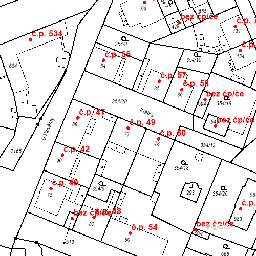 Katastrální mapa Stavební objekt Kvíček 49, Slaný