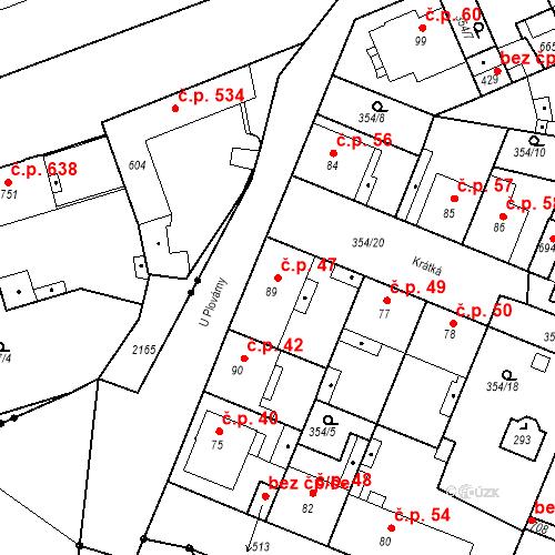 Katastrální mapa Stavební objekt Kvíček 47, Slaný