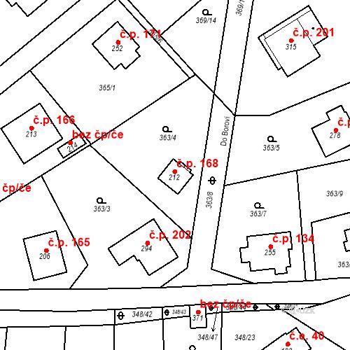 Katastrální mapa Stavební objekt Srbsko 168, Srbsko