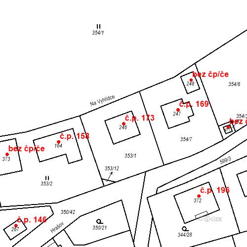 Katastrální mapa Stavební objekt Srbsko 173, Srbsko