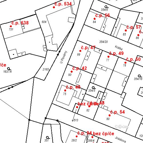 Katastrální mapa Stavební objekt Kvíček 42, Slaný