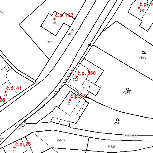 Katastrální mapa Stavební objekt Slaný 580, Slaný