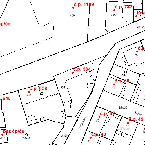 Katastrální mapa Stavební objekt Slaný 534, Slaný