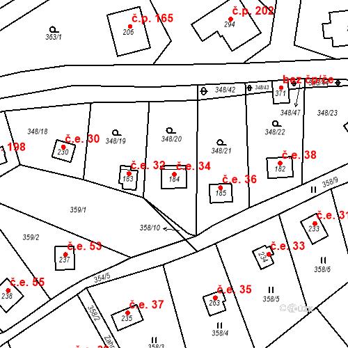 Katastrální mapa Stavební objekt Srbsko 34, Srbsko