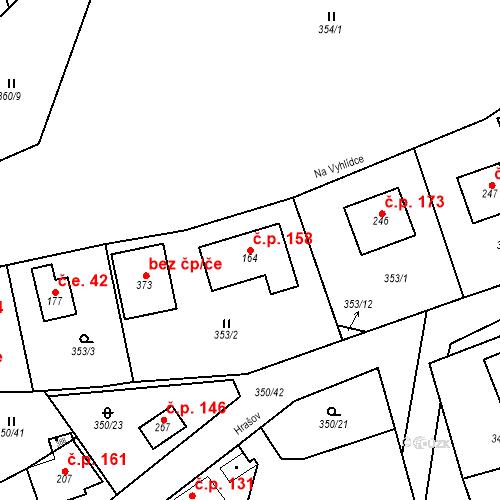 Katastrální mapa Stavební objekt Srbsko 158, Srbsko