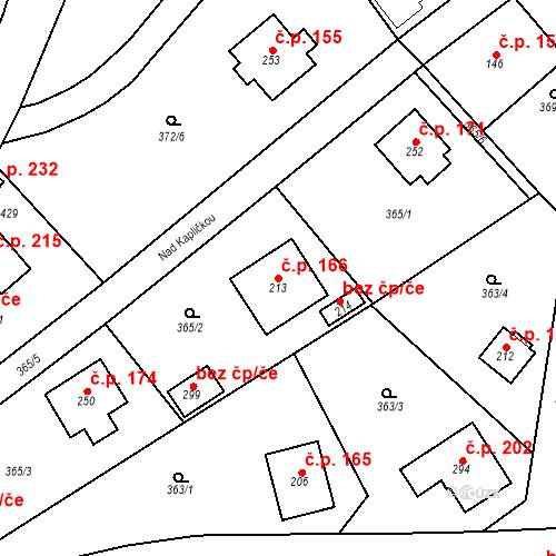 Katastrální mapa Stavební objekt Srbsko 166, Srbsko