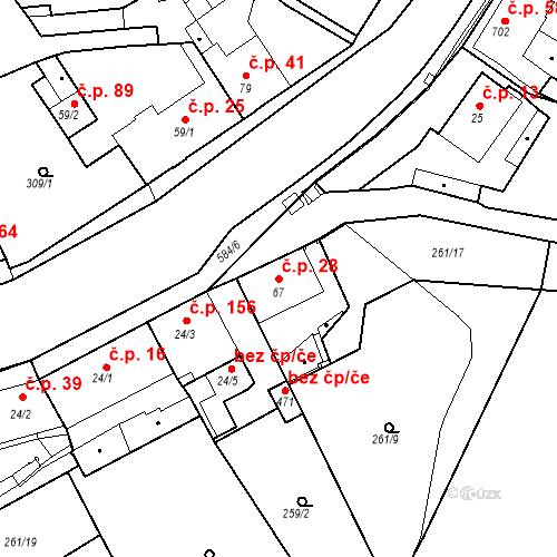 Katastrální mapa Stavební objekt Kvíček 28, Slaný
