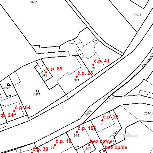 Katastrální mapa Stavební objekt Kvíček 25, Slaný