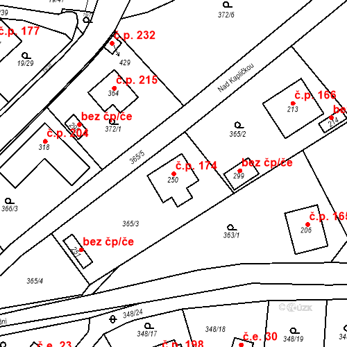 Katastrální mapa Stavební objekt Srbsko 174, Srbsko