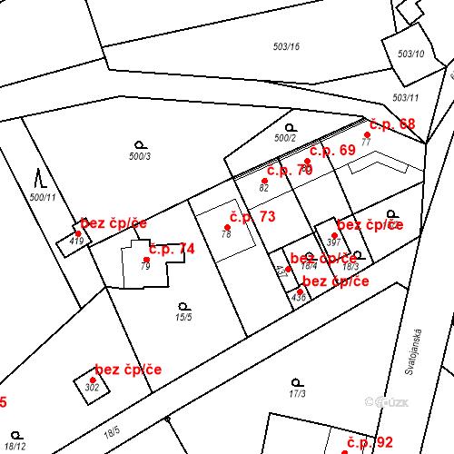 Katastrální mapa Stavební objekt Srbsko 73, Srbsko
