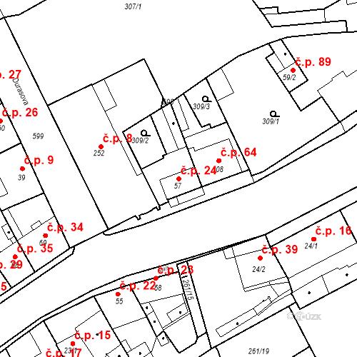 Katastrální mapa Stavební objekt Kvíček 24, Slaný
