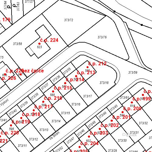 Katastrální mapa Stavební objekt Kvíček 213, Slaný