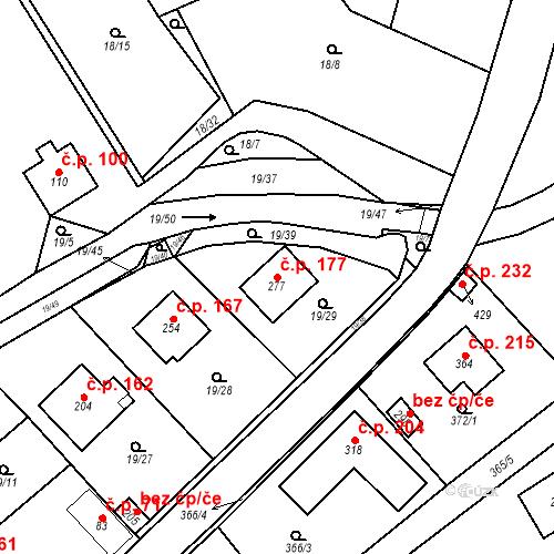 Katastrální mapa Stavební objekt Srbsko 177, Srbsko