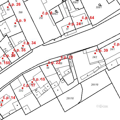 Katastrální mapa Stavební objekt Kvíček 23, Slaný