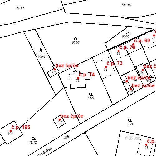 Katastrální mapa Stavební objekt Srbsko 74, Srbsko