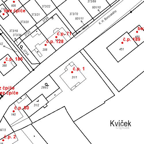 Katastrální mapa Stavební objekt Kvíček 1, Slaný