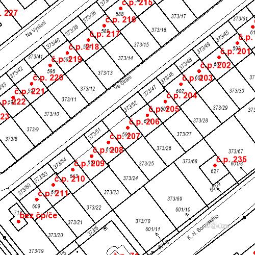 Katastrální mapa Stavební objekt Kvíček 206, Slaný
