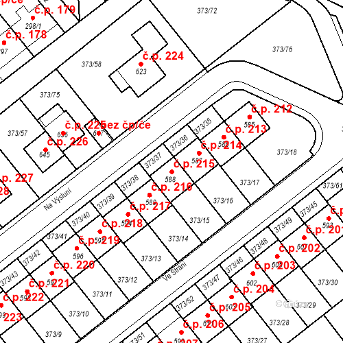 Katastrální mapa Stavební objekt Kvíček 215, Slaný