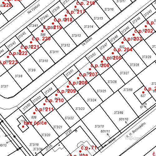 Katastrální mapa Stavební objekt Kvíček 207, Slaný